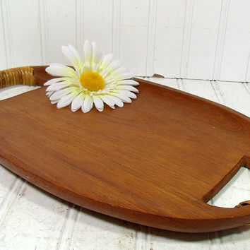 Vintage TeakWood Hostess Tray with Bamboo Wrapped Handles - BoHo Bistro Serving Large Oval Solid Wood Platter - Natural CenterPiece Holder