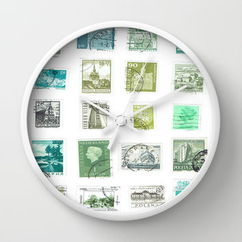 Vintage Green World Postage Stamps Wall Clock by Blue Specs Studio