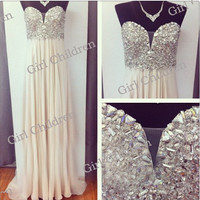 Sweetheart beaded bridesmaid dress long Prom Dresses / Evening Dresses Cocktail/ Evening Dresses/Wedding dress custom make