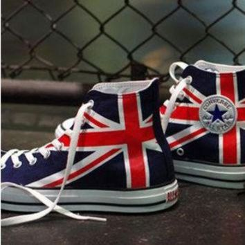 CREYUG7 UK Flag Union Jack Converse Sneakers Hand by EmilyTamHandPainting
