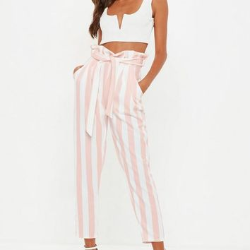 Missguided - Pink Paperbag Waist Striped Pants