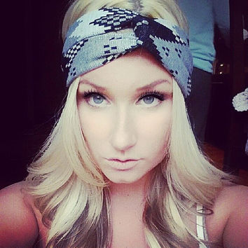 Aztec Tribal Print Headband ear warmer twist headband