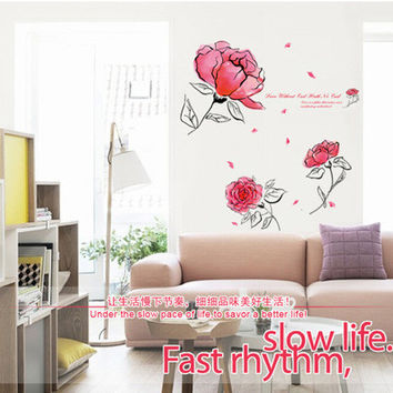 Beautiful flowers in the fifth generation of PVC can remove the transparent film Sitting room background wall decoration SM6