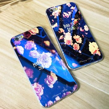 FLOVEME For iPhone 5 5S Case Blue Ray Print Stars Case For iPhone 7 5S SE For iPhone 6S 6 Plus 7 8 Plus Clear Cases Accessories