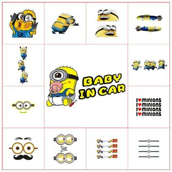 Baby On Board In Car warning vinyl decals funny Minions collide glass 3d cartoon stickers wall door window decoration poster