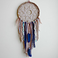 Dreamcatcher, Beach Dreamcatcher, Large Boho Dream Catcher, Doily Dreamcatcher, Boho Chic, Bohemian Decor, Nursery Mobile, Wedding Decor