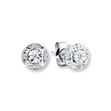Diamond Earrings Round-cut Sterling Silver