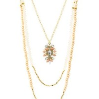 Pale Peach Layered Bead & Chain Pendant Necklace by Charlotte Russe