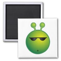 Cool Alien 2 Inch Square Magnet