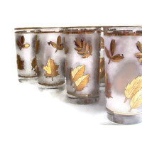 Mid Century Libbey Glasses,  Gold Leaf,  Frosted Glass, Vintage Barware, Set of 8, Retro Glassware, Cocktails