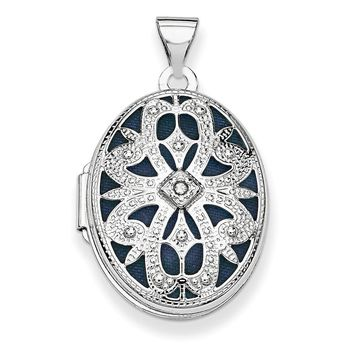 14k White Gold 21mm Oval W/diamond Vintage Locket