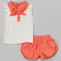 Leighton Alexander Orange Lace Top & Bubble Shorts - Infant, Toddler & Girls   zulily