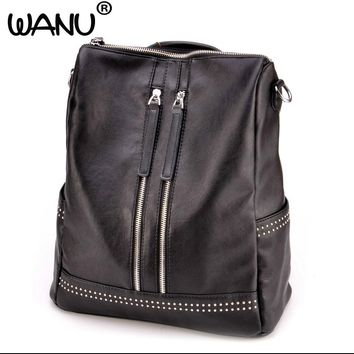 WANU 2017 Brand Soft Leather Women Backpack Casual School Bags for Teenagers Girls High Quality Female Travel Back Pack