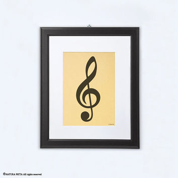 Treble clef print-music print-gold print-treble clef gold print-musician gift-music studio decor-music art-home decor-by NATURA PICTA-NPGP09