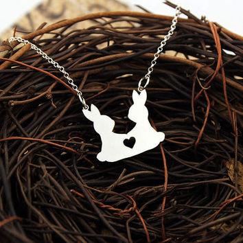 Twin Bunny necklace sterling silver Love Rabbit necklace pendant - Women Best Cute pet Gift Sister gift Best friend gift Easter Jewelry