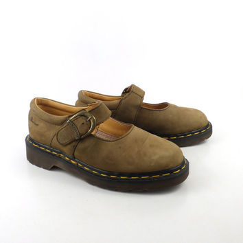 Dr Martens Shoes Mary Janes 1990 Doc Tan Brown Leather Made in England UK size 4 US size 6