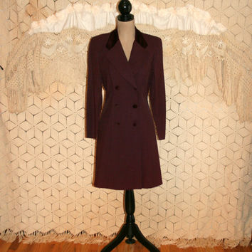 Long Sleeve Dress Double Breasted Button Up Coat Dress Duster Maroon Purple Dress Velvet Collar 80s Day Dress 1980s Medium Womens Clothing