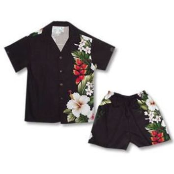 paradise black boy hawaiian border cabana set