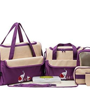 Diaper Bag Set (Lavender with Elephant), 10 Pieces
