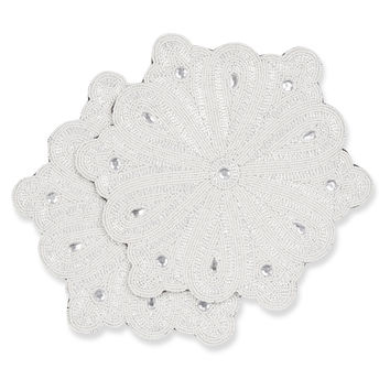 Set of 2 White Snowflake Placemats