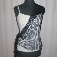 black lace crochet shawl sand dollar pattern made with 100% bamboo thread