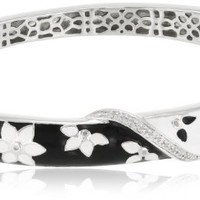 Sterling Silver Diamond Black and White Enamel Floral Bangle Bracelet (0.08 cttw)