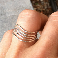 Set of 5 Hammered Sterling Silver Wavy Rings Chevron- custom made to size