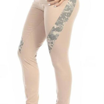 Sexy Hi Lo Waist Universal Camo Pattern Military Work Out Pants - Tan/Green