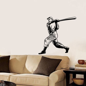 Vinyl Decal Sport Sportsman Man Playing Baseball Bat Home Wall Decor Stylish Sticker Mural Unique Design Kids for Any Room V783