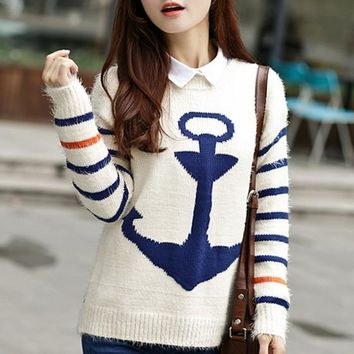 Blue Anchor Print Knit Pullover Sweater