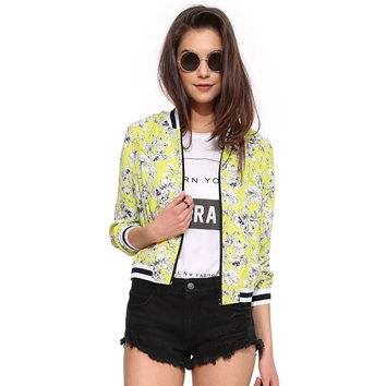 Yellow Flower Print Varsity Striped Cardigan Jacket
