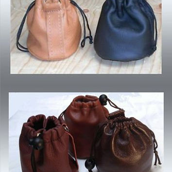 LEATHER Drawstring Purse/ Bag / POUCH - BELT Loop or Wrist / New /5 colours