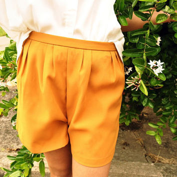 Yellow Mustard Shorts High Waist Trousers Pants Bottom 6 S Spring Fashion