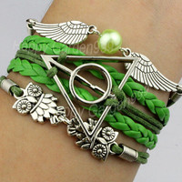 Green bracelet deathly hallow harry potter bracelet green snitch bracelet cute owl bracelet new year gift-Q628