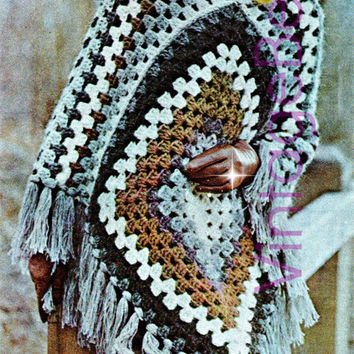 Super Easy Poncho Pattern is Quick to Make Bohemian Clothing - Ladies PONCHO CROCHET PATTERN Vintage 1970s - Pdf Pattern - Instant Download