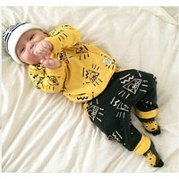 New arrive baby clothes Fit spring baby boy yellow clothing sports clothes suit