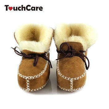 Baby Winter Sheepskin Fur First Walkers Infant Genuine Leather Boots Newborn Boys Girls Real Wool Shoes Moccasins