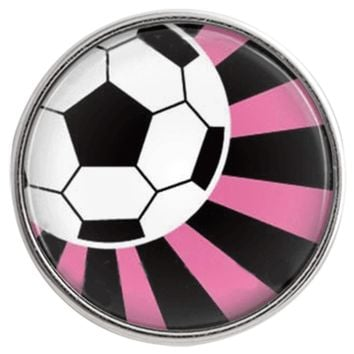 """Chunk Snap Charm Soccer Ball Pink Black Background 20mm 3/4"""" Diameter Fits Ginger Snaps"""