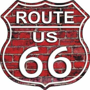 Red Brick Route 66 Highway Shield Sign  11 inch  die cut  sign