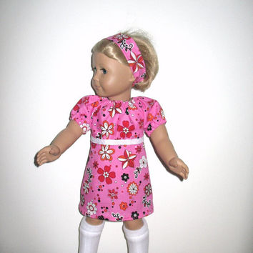 Doll Clothes for American Girl Dolls or Most Other 18 Inch Dolls,  Hot Pink 70s Flower Go Go Style Peasant Dress and Knee High Boots