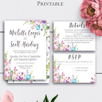 Floral Wedding Invitation with Card, Boho Wedding Set, Customize, Watercolour, Details Card, Response Card, Wedding Invite, Vintage
