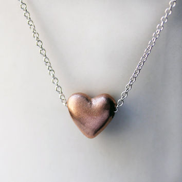 Rose gold heart necklace - tiny heart - 10k recycled pink gold - puffed heart - slide necklace - ready to ship