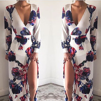Deep v-neck printed big dress