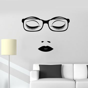 Vinyl Wall Decal Business Lady Female Beautiful Face Glasses Woman Office Stickers Mural (ig5596)