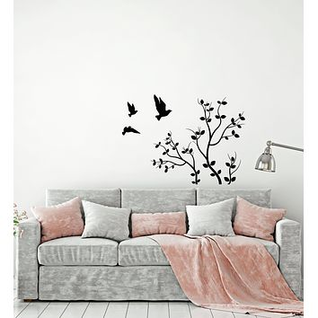 Vinyl Wall Decal Nature Tree Branch Flying Birds Bedroom Decor Stickers (3809ig)