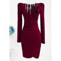 Wine Red Vintage V-Neck Ruched Long Sleeve Bodycon Dress
