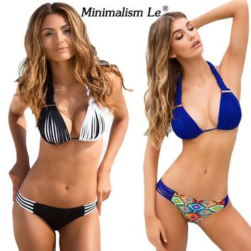 Minimalism Le Brand 2018 New Bikini Set Sexy Swimwear Women Bench Swimsuit Bathing Suit Push Up Low Waist Brazilian Bikini BK549