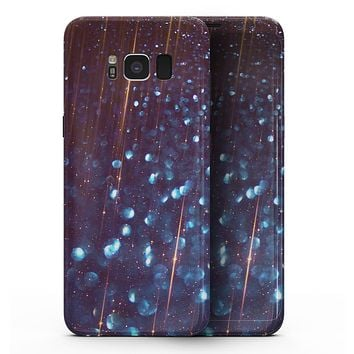 Dark Radient Orbs of Blue with Streaks - Samsung Galaxy S8 Full-Body Skin Kit
