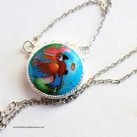 Macaw Necklace, Parrot Pendant on Chain, Parrot Necklace, Handmade