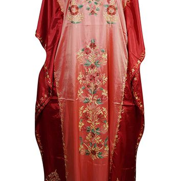 Mogul Womens Caftan Maxi Dresses Double Shaded Silk Kashmir Floral Embroidered Kaftan (Pink-2): Amazon.ca: Clothing & Accessories